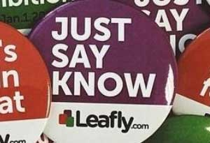 image of Leafy button with Just Say Know text
