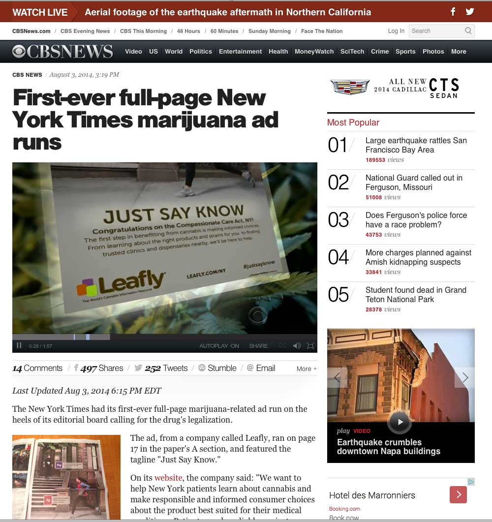 iamge of New York Times Leafly ad