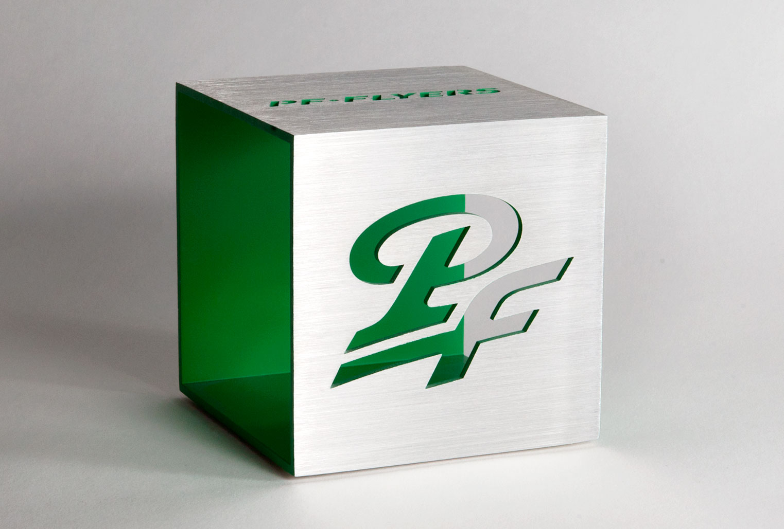 image of PF Flyers logo on paper block