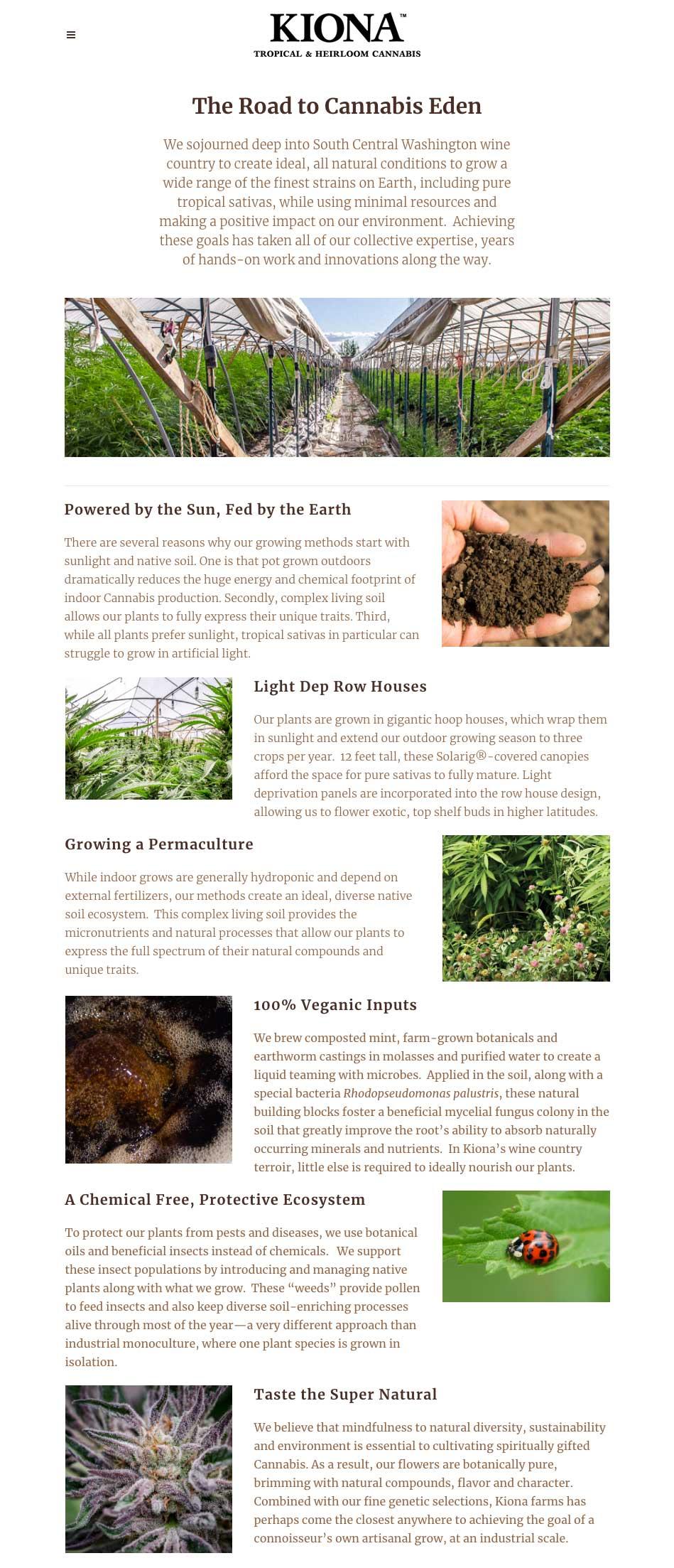 image of Kiona website growing subpage