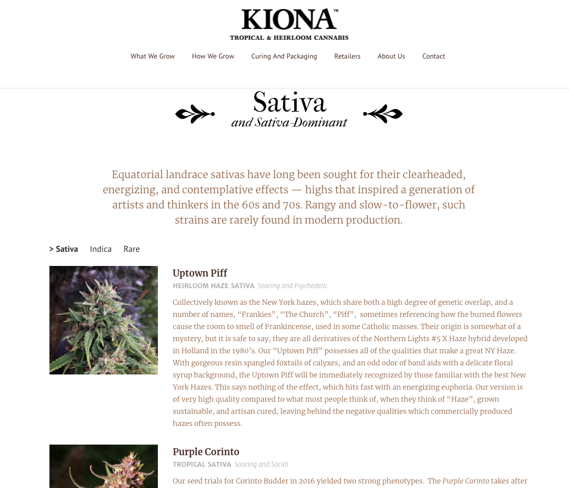 image of Kiona website sativa subpage